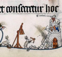 Siege rabbits. Pontifical of Renaud de Bar, France ca. 1303-1316 (Cambridge, Fitzwilliam Museum, MS 298, fol. 41r)