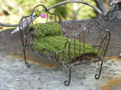 miniture bed | Fairy Bed miniature for fairy garden. $14.50, via Etsy.