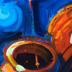 A closeup of my #festival #lantern #painting for sale at colorcatstudios101.etsy.com #chineselanterns #colorcatstudios