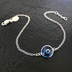 Lucky Evil Eye Bracelet  Sterling Silver  by classicdesigns, $36.00 | Everyone has to have one.