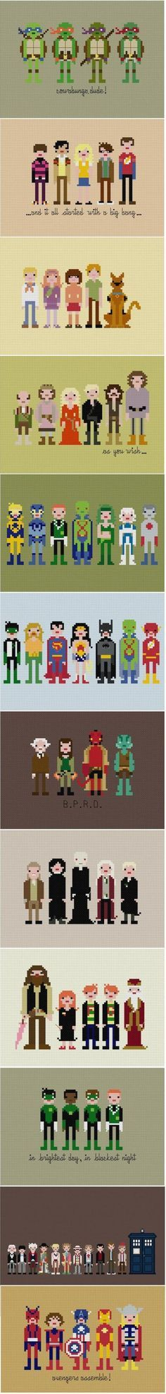 Hahaha - I haven't cross-stitched in YEARS, but I know people I would make these for!  Cross Stitch of various tv shows, movies and characters... fandom!