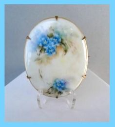 Antique Early 1900's Hand Painted Porcelain Brooch Pin Forget-me-Knots C-Clasp Gilded Brass