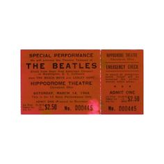 Beatles Concert Tickets ❤ liked on Polyvore featuring fillers, tickets, concert tickets, music and the beatles