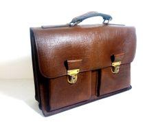 Brown Ox Leather Vintage Sturdy Briefcase Bag / by LyskoVintage, $85.00
