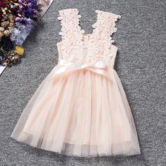 Filles Enfants Fleurs Princesse Robe DE Mariée Dentelle Sans Manches Tutu Robe   eBay