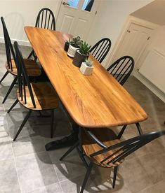 Must say that was a little bit emotional. The Ercol has been taken home! I have absolutely loved every second of this restoration. Furniture Renovation, Farmhouse Style Kitchen Table, Ercol Dining Chairs, Ercol Dining Table, Dining Table Chairs, Dining Room Table, Dining Room Spaces, Ercol Furniture, Dining Table Upcycle