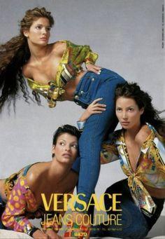 Stephanie Seymour, Linda Evangelista & Christy Turlington for Versace Gianni Versace, Donatella Versace, Versace Versace, Atelier Versace, Richard Avedon, Stephanie Seymour, Christy Turlington, 1990 Style, Original Supermodels