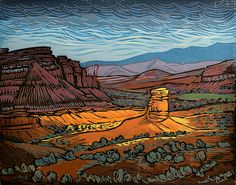 A Break In The Storm, Capitol Reef National Park - Original block print by Manny Mellor from The Timpanogos Printshop