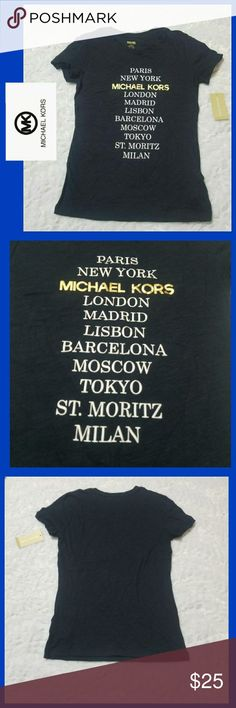 ❤MICHAEL KORS~SM❤ New with tags!! Michael Kors tshirt, size small. Navy blue in color. Features gold Michael Kors logo & white lettering. Super soft & comfy without sacrificing style! Grab this darling tshirt today at a fraction of the retail cost. 😉 Thanks so much for looking. Be sure to check out my closet for other great deals on name brands and bundle to save even more. 💲God bless! Michael Kors Tops Tees - Short Sleeve