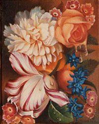 Petites fleurs 1988 huile sur toile  © Marcel Pétron - Nouméa, Nouvelle-Calédonie #MarcelPetron #gouttedeau #fleurs