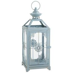 "$15.00 Medium Jeweled Lantern - Blue  3.74""W x 3.74""D x 8.07""H .Place on sofa table with plants, my lrg. shell & crab"