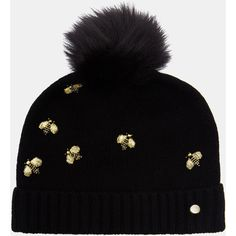 Embellished Bee beanie hat featuring polyvore women's fashion accessories hats black pom pom beanie hat beanie cap hat ted baker hat bumblebee hat bumble bee hat