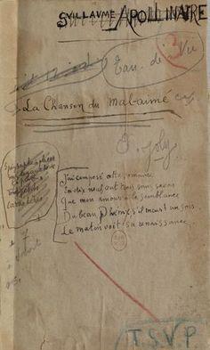 Alcools: un manuscrit de la main d'Apollinaire