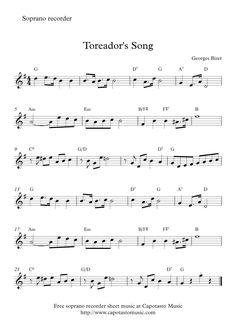 Toreador's Song | Free easy soprano recorder sheet music