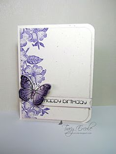 Pretty purples.  Antique Flowers & Butterflies stamp & die-cut set (Apr'13) #CAS, #Hero_Arts