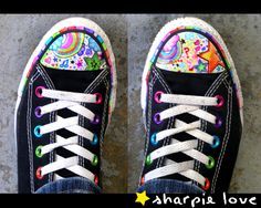 I'll never forget the first pair of converse i got! Grey and orange high tops. Amazing what you can do with a Sharpie! Converse Noir, Colored Converse, Cool Converse, Black Converse, Converse Sneakers, Converse All Star, Rainbow Converse, Rainbow Sneakers, Custom Converse