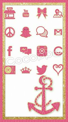 Pink and Gold icon and wallpaper set. #Cocoppa