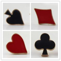 1 Pair Vogue Personality Poker Playing Cards Lady Stud Earrings Quality 4 Style | eBay