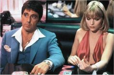 Al Pacino and Michelle Pfeiffer (in a red dress) in Scarface Michelle Pfeiffer, Al Pacino, Oliver Stone, Elvira Hancock, The Godfather Wallpaper, Stephane Audran, Scarface Movie, Scarface Poster, Hollywood