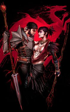 Hawke and Morrigan from Dragon Age series. Hope you enjoy! Characters and logo © Bioware Edit- DD!!! Thanks for all watchs and faves!! It's truely an honor!!