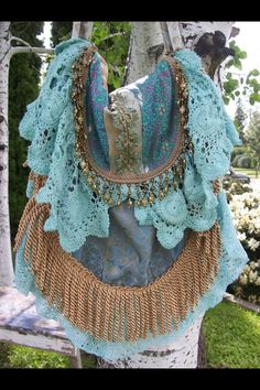 Add a little color to old doilies and repurpose into purse
