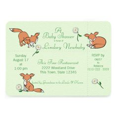 Playful Fox and Daisy Baby Shower Green Personalized Invites