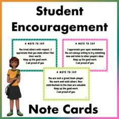 Our students love to pass notes during class and some of the notes being passed around are little notes of encouragement from their friends.We thought as teachers, we should do the same because we believe a word of encouragement goes a long way.These student encouragement note cards are a great way ... School Resources, Classroom Resources, Teacher Resources, Teaching Ideas, Classroom Ideas, Behavior Management Strategies, Reading Strategies, Classroom Management, Primary Classroom