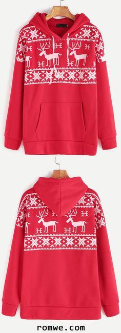 Red Christmas Print Drop Shoulder Drawstring Hooded Pocket Sweatshirt