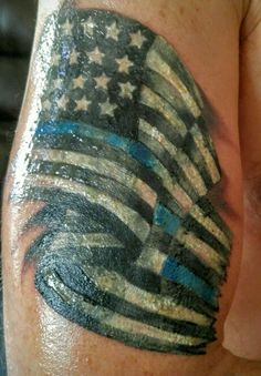 Thin blue line flag tattoo