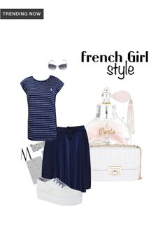 'French Girl Style' by me on Limeroad featuring Stripes Blue Tops with Blue Skirts