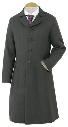"•	frock overcoat: ""cut along the same lines as a frock coat, but longer (flat, turned-down collar)."" -Survey of Historic Costume"