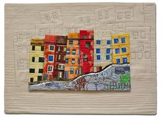I LOVE This more than words can express! LOVE the quilting of houses in the cream part!! Hilde Morin - Fiber art