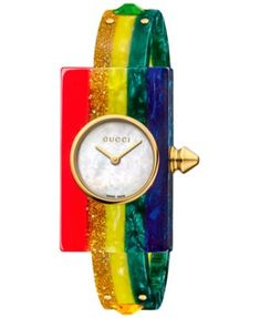 007db81d678 Gucci Women s Swiss Plexiglas Watch Rainbow Short Bracelet Watch 24x40mm  YA143519