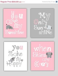 "So Cute! Four 8x10 pink and gray art prints, ""You are my sunshine""."