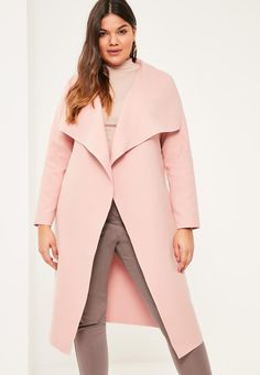 Missguided - Plus Size Pink Oversized Waterfall Duster Coat