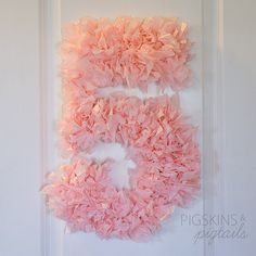 Items Similar To Pink Tissue Paper Number 5 Shabby Chic Fifth Birthday Party Decor On Etsy