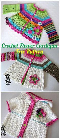 Crochet Kids Flower Cardigan Sweater Free Pattern - #Crochet Kid's Sweater Coat Free Patterns
