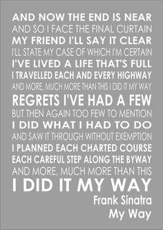 Frank Sinatra - My Way - Word Typography Words Song Lyric Lyrics Print Canvas