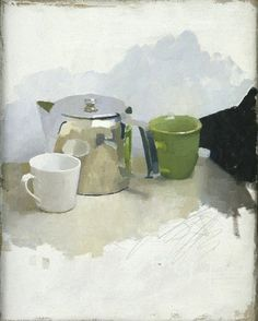 """Diarmuid Kelly """"NOT FOR ALL THE TEA IN CHINA"""", 2002 oil on canvas 50 x 40 cm"""