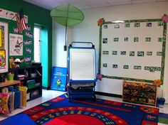 Jungle themed whole group instruction area with a word wall