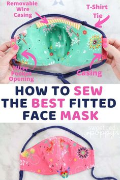 How to Sew a Fitted Face Mask with Casing Learn to Sew a Fitted Face Mask with Filter Pocket, Removable Nose Wire, T-Shirt Tie and Casing. FREE Pattern Download with 5 Different sizes from Toddler to Adult.<br> Learn to Sew a Fitted Face Mask with Filter Pocket, Removable Nose Wire, T-Shirt Tie and Casing. A tutorial by Sweet Red Poppy. Click here now!! Diy Mask, Diy Face Mask, Face Masks, Sewing Blogs, Sewing Hacks, Free Pattern Download, The New School, Mask Design, Learn To Sew