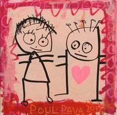 Poul Pava, 'Be good to her' I Carry Your Heart, Charlie Brown, Snoopy, Wall Art, Canvas, Illustration, Artwork, Pink, Fictional Characters