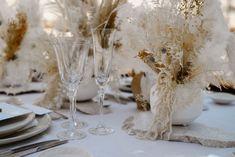 boho-style lunaria and pampas grass table arrangements Floral Wedding Decorations, Floral Centerpieces, Wedding Flowers, Destination Wedding Inspiration, Destination Wedding Photographer, Wedding Table Place Settings, Wedding Tables, Mediterranean Wedding, Greece Wedding