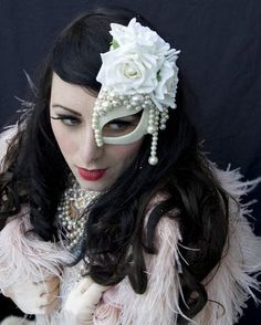 Pearl floral half mask fascinator
