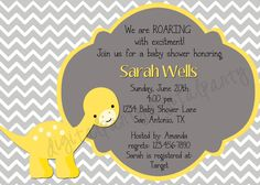 Superb Yellow Baby Dinosaur Baby Shower Invitation