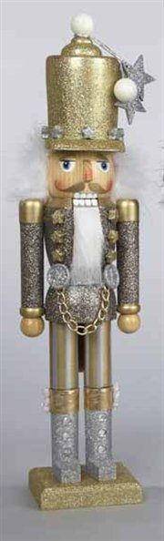 Hollywood Decorative Gold Glittered Soldier Wooden Christmas Nutcracker
