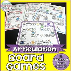 Articulation Board Games are a fun way to engage your students during articulation therapy! Use a coin as the dice and students will produce so many repetitions in one session! Includes 14 different game boards with the following initial sounds: K, G, F, V, S, Z, L, R, SH, CH, TH, Blends (L, R, S).