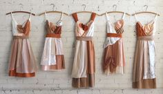 custom autumnal bridesmaids dresses in burnt orange, tans, peaches, and cream by Armour sans Anguish #fallwedding #ecowedding #autumnbride