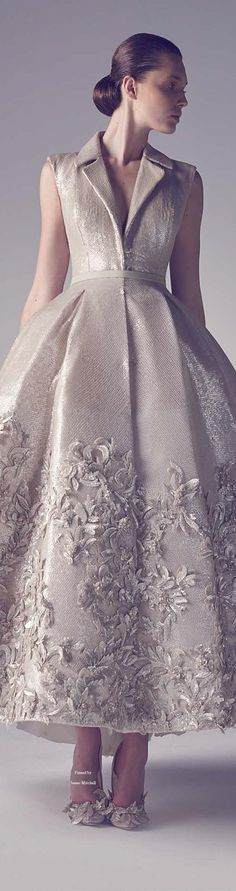 Metallic coat dress with floral applique skirt - Ashi Haute Couture Spring Summer Style Couture, Couture Fashion, Runway Fashion, Beautiful Gowns, Beautiful Outfits, Beautiful Mermaid, Pretty Outfits, Elegant Dresses, Pretty Dresses