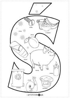 Kolorowanka Ś - Printoteka.pl Polish Alphabet, Polish Language, Kids Education, Origami, Logos, School, Google, Double Deck Bed, Speech Language Therapy